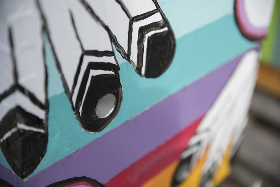 close up of colourful bee boxes