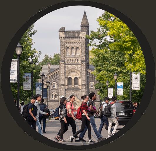 Students walking in front of school building