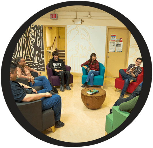 student group meeting together in turtle lounge at Centre for Indigenous studies